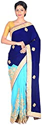 Sree Howrah Stores Women's Georgette Saree with Blouse Piece (Royal and Peacock Blue)