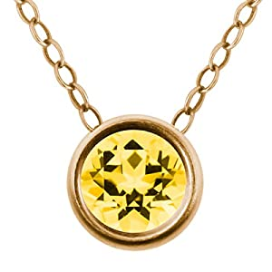 Carlo Bianca Honey 14K Yellow Gold Pendant Made With Swarovski Topaz