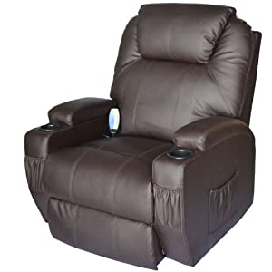 Homcom Deluxe Heated Vibrating Pu Leather Massage
