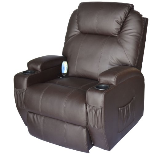 Luxury PU Leather Chair Cinema Massage Rocking Swivel Heated Nursing Gaming Recliner Chair Brown