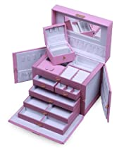 Hot Sale SHINING IMAGE HUGE PINK LEATHER JEWELRY BOX / CASE / STORAGE / ORGANIZER WITH TRAVEL CASE AND LOCK