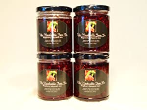 ALL NATURAL Spicy Raspberry Jalapeno Jam by The Nashville Jam Company, 10.5 oz (4 Pack)