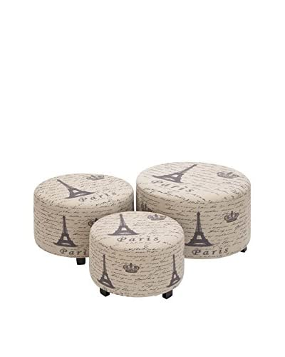Set of 3 Wooden Ottomans, Flax