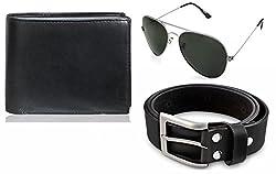 Rico Sordi leather wallet with sunglass & Belt(design-8) (Black) - RSM_40_42_WSGB
