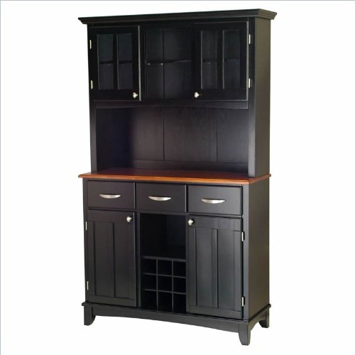 Home Styles 3 Drawer Black Buffet and 2-Door Hutch with Cottage Oak Top