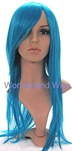 Long Bright Blue Turquoise Coloured Wig - Layered Straight Blue Wig Cosplay
