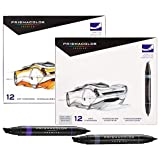 Prismacolor Premier Double-Ended Markers, Fine and Chisel Tip, 12 Cool Grey & 12 Assorted Color, Total of 24 Markers (Color: Assorted Colors + Grey, Tamaño: 24-Count)