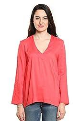 Women Pink Full Sleeves High Low Top