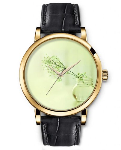 Sprawl Analog Ladies Wrist Watch Women Watches Genuine Leather Strap - Branch In Vase Dial back-999979