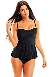 Women`s noble Push Up Tankini with ruffles two pieces 1077B-f3650