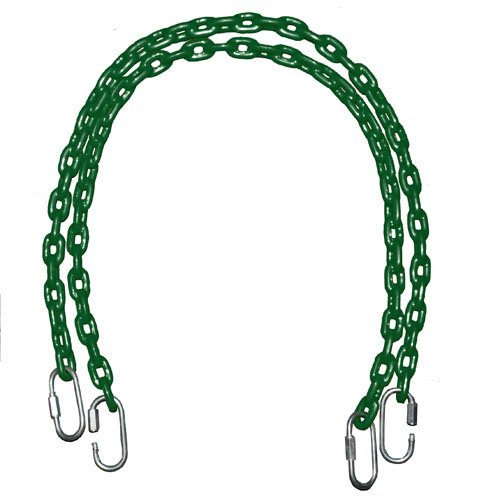Fully Coated Chain 66 Inch Long + 4 Free Quick Links On Both Sides In Green Waterproof Chain Swingset Seat, Baby Swing, Toddler Swing, Trapeze Bar Playground Equipment Chain, Jungle Gym 2 (1 Pair) (Free Priority Shipping In Continental Usa) front-874274