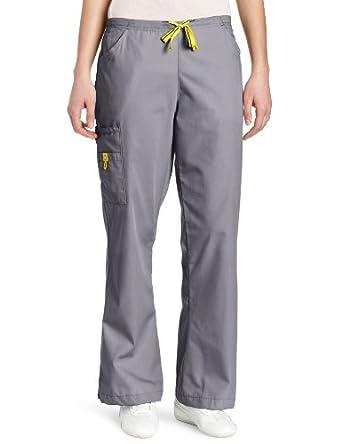 WonderWink Women's Scrubs Romeo 6 Pocket Flare Leg Pant, Pewter, XX-Small/Petite