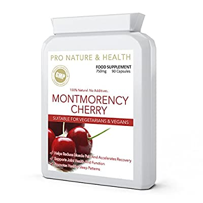 Montmorency Cherry | 750mg x 90 Capsules | 100% Natural | No Additives | Helps Reduce Muscle Pain | Supports Joint Health And Function | Promotes Healthy Sleep Patterns | Manufactured In The UK To GMP Code Of Practice And ISO 9001 Quality Assurance Certif