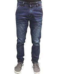 SNJ Mens Blue Slim Fit Mid Rise Blue Shade Knitted Denims (SU2209 J (B))