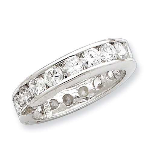 Sterling Silver CZ Eternity Band - Size 7