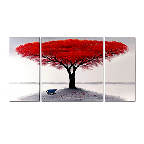 FLY SPRAY 3-Piece 100% Hand Painted Oil Paintings Panel Stretched Framed Ready Hang Landscape Tree Flower Modern Abstract Painting Canvas Living Room Bedroom Office Wall Art Home Decoration