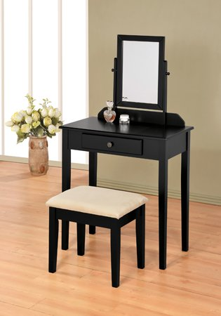 Black finish wood 3 pc bedroom vanity set with mirror and ...