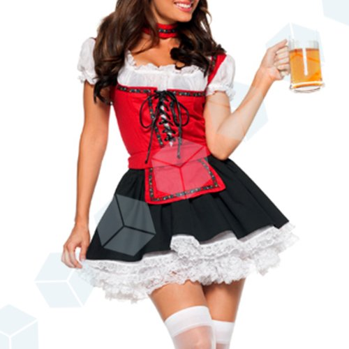 Sexy Oktoberfest Bavarian Beer Girl German Wench Waitress Maid Flirty Party Bustier Dress Up Adult Complete Costume Outfit Fancy Dress with G-strings Choke Apron