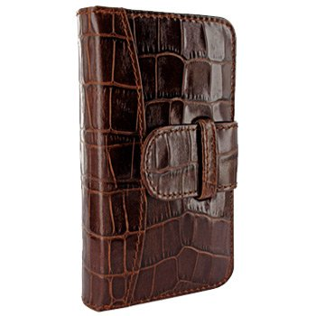 Special Sale Apple iPhone 5 / 5S Piel Frama Brown Crocodile Leather Wallet