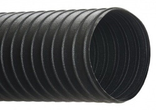 """Hi-Tech Duravent Cc Conductive Series Neoprene Coated Fabric & Steel Duct Hose, For Use With Air, Black, 4"""" Id, 25' Length front-549300"""