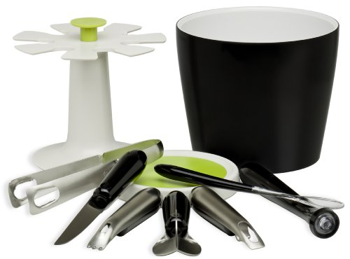 Arta by Chef'n Brio Bucket and 7-Piece Tool Set, Black / Stainless Steel