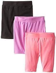 Dream Star Little Girls\' Solid Bike Short, Neon Punch/Black/Neon Pink, Medium (5/6)
