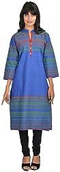 Goodyygoods Women's Cotton Regular Fit Kurti (GG 24, Blue, Large)