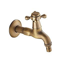Generic New Gold Color Oil Rubbed Bronze Long Bathroom Faucets Basin Garden Faucet Wachine Machine Water Cold Tap Dark Grey