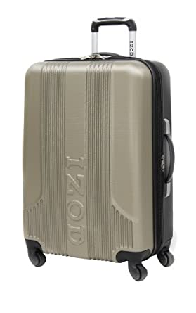 IZOD Luggage Voyager 2.0 20 Inch Expandable Spinner Carry-On Bag, Dry Champagne, Small