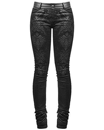 Punk Rave Vittoriano Damasco Jeans Pantaloni Skinny Pantaloni Neri Gotica Steampunk VINTAGE - cotone, Nero, 96% cotone 4% spandex.\n\t\t\t\t 4% spandex \n96% cotone, Donna, XXL - UK Womens Size 16