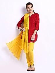 MemSahiba Women Plain Cotton Chudidaar Dupatta Combo (MS-1392_Yellow)