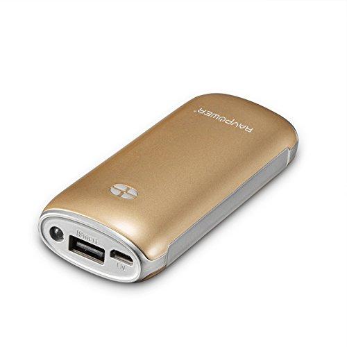 改良版RAVPower 6000mAh多彩シリーズ大容量モバイルバッテリー1年間の安心保証5V/2.1A出力iPhone6plus/6/5S/5C/5/4S・iPad Air/mini・apple社その他製品・Xperia・GALAXY S・softbank・au・docomo・各種タブレット・Wi-Fiルータ・各社Androidスマホ/ウォークマン等マルチデバイス(ゴールド)RP-PB17