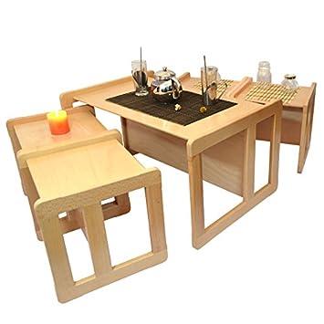 3 en 1 Multifuncional Nido de 5 Mesas de Café Para Adultos o 1 Mesa o Banco y 4 Sillas Para los Niños Hecho de Madera de Haya Leve