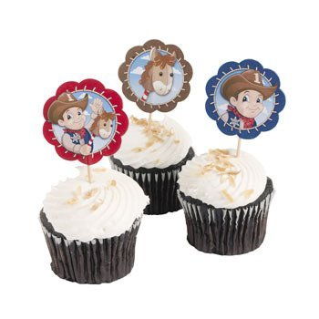 Lil' Cowboy Western Cupcake and Food Picks - 25 pcs - 1