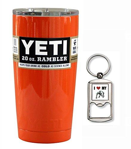 YETI Custom Powder Coated Stainless Steel 20 oz (20oz) Rambler Tumbler with Lid (Orange)