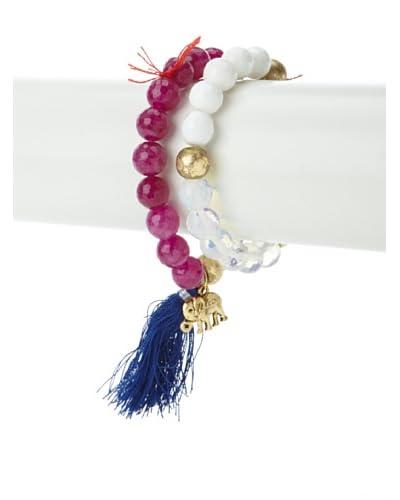 Lead Purple/White Baby Elephant Bracelet Set