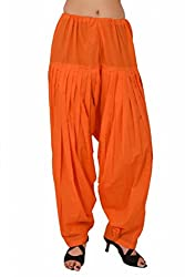 Stylenmart Women Cotton Solid Full Patiala Salwar (Stmapa078626 _Orange _Free Size)