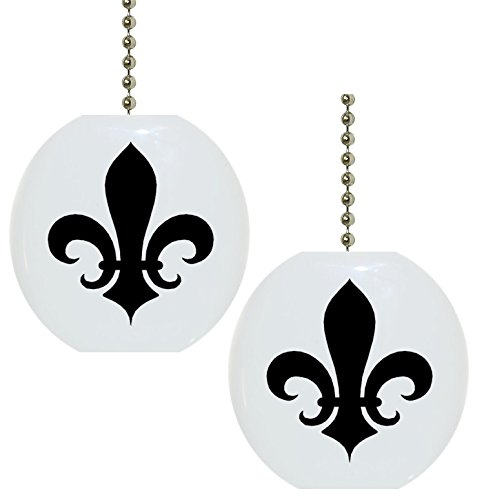 Set of 2 Black Fleur de Lis Solid CERAMIC Fan Pulls (Fleur De Lis Fan Pull compare prices)
