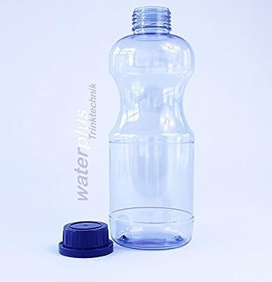 4 x TRITAN Trinkflasche 1 Liter (rund) + 3 Standarddeckel + 3 Dichtdeckel + 2 Trinkdeckel, Made in Germany, weichmacherfrei / BPA frei durchdachtes Design, große Einfüllöffnung (33 mm), große Standfläche für sicheren Stand, leicht zu reinigen, gesch