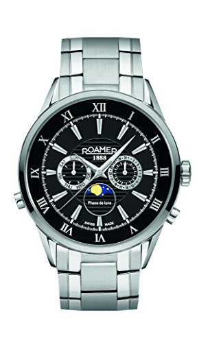 Roamer of Switzerland Superior Moonphase Men's Quartz Watch with Black Dial Chronograph Display and Silver Stainless Steel Bracelet 508821 41 53 50