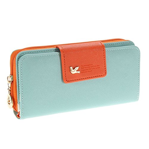 Augur-Womens-Multi-card-Position-Two-Fold-Purse-Long-Zipper-Wallet-Handbag-handbag-Sky-Blue