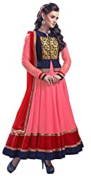 Sitaram womans georgette Pink and Blue colour anarkali gown style semistiched material with dupatta.