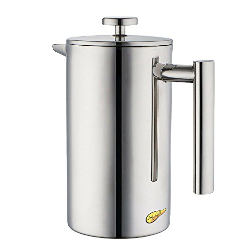 Meelio 18/8 Stainless Steel Double Wall Coffee French Press and Tea Maker,(Stainless Steel Screen,Mirror Finish,8 cup Cafetiere Roast Coffee ,1liter) (French Press Thermal compare prices)