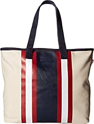 Tommy Hilfiger Women\'s Stripes Tote Canvas Natural/Navy/Red Tote