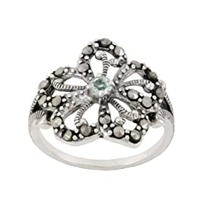 Sterling Silver Marcasite and Blue Topaz Filigree Flower Ring, Size 7