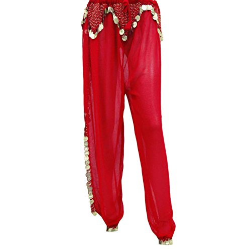 Belly Dance Halloween Costume Gypsy Genie Renaissance Pirate Red Harem Pants