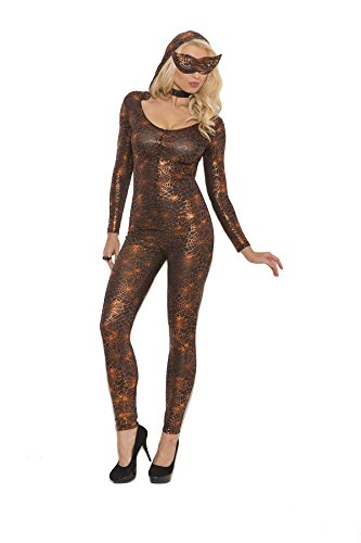[Sexy Black Widow Babe Spider Jumpsuit Roleplay Costume, Small, Black/Orange] (New Black Widow Costumes)