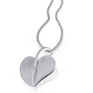 Goldmaid Damen-Halskette 925 Sterling Silber Herz 1 Diamant 0,01 ct. 45 cm Sd C5972S
