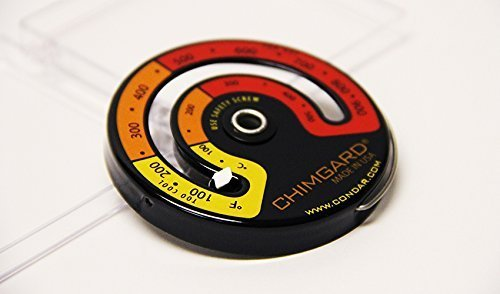 EXCITING EASY TO READ GRAPHICS. Chimgard Stovepipe Thermometer model 3-4. Durable genuine porcelain enamel with yellow, orange and red zones clearly indicated on black case -- shows safe flue temperatures at a glance. CALIBRATED FOR FLUEPIPES (Magnetic Stove Pipe Thermometer compare prices)