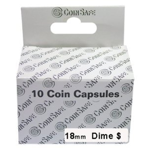 CoinSafe Capsules for Dimes, Box of 10 (18mm)